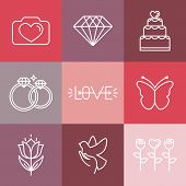 Vector Wedding And Engagement Line Logos And Icons