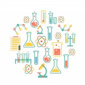 picture of chemistry  - chemistry icons background for  biology and medical research posters - JPG