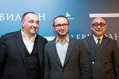 MOSCOW - JANUARY, 28: A Rodnyansky, A. Zvyagintsev, S. Melkumov. (Film Leviathan). Premiere of the movie Leviathan at Moscow Cinema,  January, 28, 2015 in Moscow, Russia