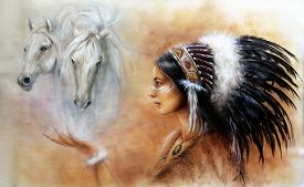 stock photo of indian  - A beautiful airbrush painting of a young indian woman wearing a gorgeous feather headdress with an image of two white horse spirits hovering above her palm - JPG