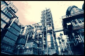 stock photo of pipeline  - oil and gas refinery industry - JPG