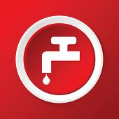 stock photo of ooze  - Round icon with image of water tap - JPG