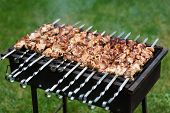 picture of barbecue grill  - Grilling shashlik on barbecue grill with delicious meat - JPG