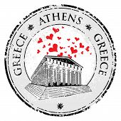 picture of parthenon  - Love heart stamp with the Parthenon shape from Greece and the name Greece written inside the stamp - JPG