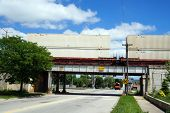picture of underpass  - A freight train moving over the Ohio Street underpass in Joliet - JPG