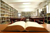 image of book-shelf  - Old book and book shelfs in a library - JPG
