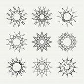 stock photo of symmetrical  - Simple monochrome geometric abstract symmetric shapes set - JPG