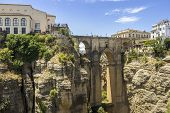 picture of bridge  - Ronda Panoramic view over Puente Nuevo New Bridge The newest and largest bridge that span the 120 - JPG