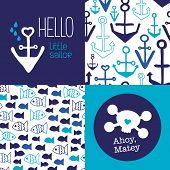 pic of marines  - Hello little sailor kids marine anchor fish seamless background pattern set and ahoy matey pirate postcard cover design in vector - JPG