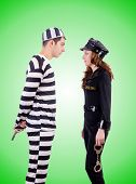 foto of inmate  - Police and prison inmate on white - JPG