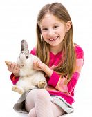 picture of rabbit year  - smiling girl in a crimson sweater  with baby rabbit isolated over white background close - JPG