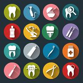 image of dental  - Set of vector Dental Icons in flat style with long shadows - JPG
