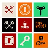 stock photo of key  - Retro icons set of keys  - JPG