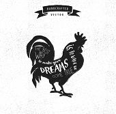 stock photo of roosters  - inspiration quote hipster vintage design label  - JPG