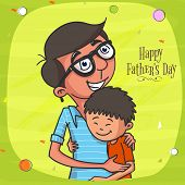 stock photo of special day  - Happy Father loving and hugging his cute son on shiny green background - JPG