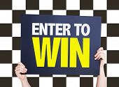 image of raffle prize  - Enter to Win card with checkered flag on background  - JPG