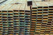 picture of ferrous metal  - Close up Rectangular metal pipe for construction get corrode - JPG