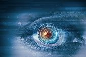 stock photo of security  - Close up of female digital eye with security scanning concept - JPG