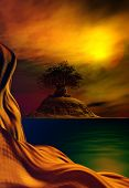 stock photo of serenity  - 3D illustration of landscape with surrealist aspect in the foreground with a rock formation in the background and a big tree upon a rock and the colors of the sky reflected in serene water - JPG