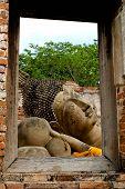 stock photo of recliner  - The Reclining Buddha at Ayutthaya in Thailand - JPG