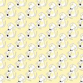 image of puppies mother dog  - Seamless background with two repeating cute stylized Jack Russel terriers mother and child sitting close to another with isolated on light yellow background - JPG