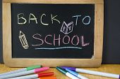 stock photo of marker pen  - back to school writing on board with marker pen on table - JPG