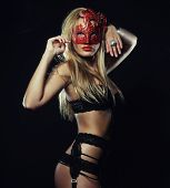 picture of latex woman  - young sexy woman in black lingerie wearing mask - JPG