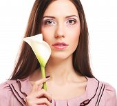 pic of calla  - beautiful woman with calla flower isolated on white - JPG