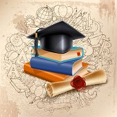 Black graduation cap on stack of books and diploma on doodle hand drawn background with different sc poster