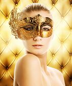 picture of beautiful women  - Beautiful woman in carnival mask over abstract background - JPG