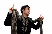 image of sherwani  - indian in traditional clothes in dancing pose with clipping path.