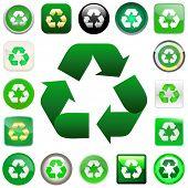 Recycle symbol button. Vector set.