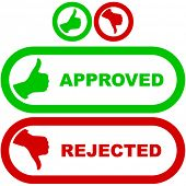 Approved and rejected icons.