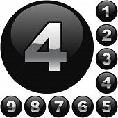 Number buttons. Vector set.