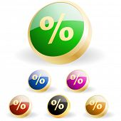 Percent button set. Vector set.