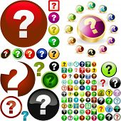 Question button set. Vector great collection.