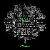 MUSIC. Word collage on black background. Vector illustration.