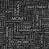 MONEY. Seamless vector pattern with word cloud.