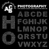 PHOTOGRAPHY. Vector letter collection. Wordcloud illustration.