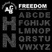 FREEDOM. Vector letter collection. Wordcloud illustration.