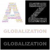 GLOBALIZACIÓN. Collage de la palabra. Ilustración del vector.