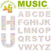 MUSIC. Vector letter collection. Illustration with different association terms.