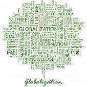 GLOBALIZACIÓN. Palabra collage sobre fondo blanco. Ilustración del vector.