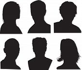 picture of silhouette  - set of silhouettes of heads highly detailed in black - JPG