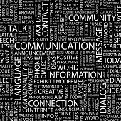 COMMUNICATION. Seamless vector pattern with word cloud. Illustration with different association terms.