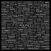 POLITICS. Word collage on black background. Illustration with different association terms.