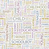 CHILD. Seamless vector pattern with word cloud. Illustration with different association terms.