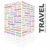 TRAVEL. Word collage on white background. Illustration with different association terms.