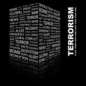 TERRORISM. Word collage on black background. Illustration with different association terms.