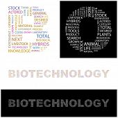 BIOTECHNOLOGY. Word collage. Illustration with different association terms.